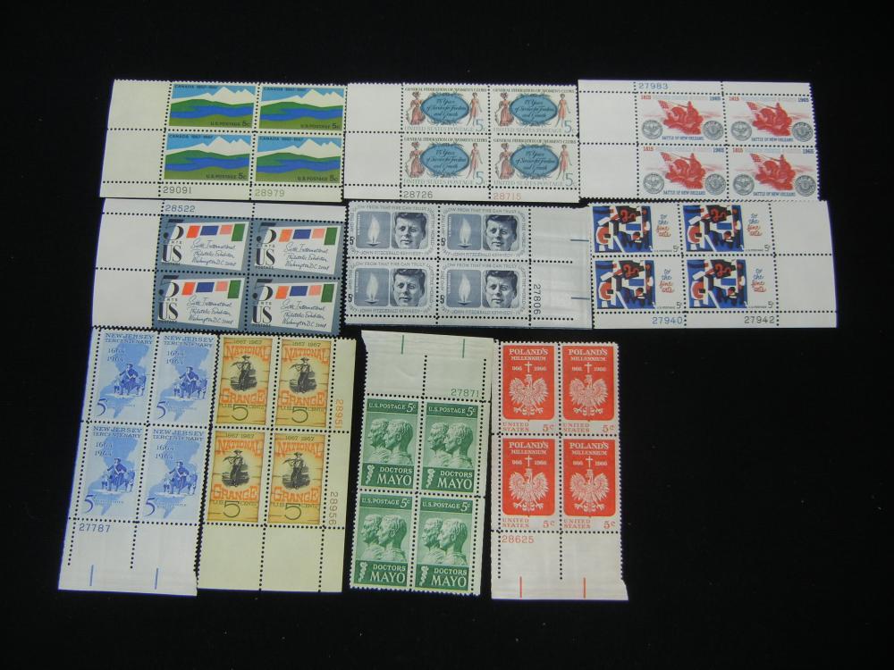 10 Unused Vintage Plate Block U.S. Stamps