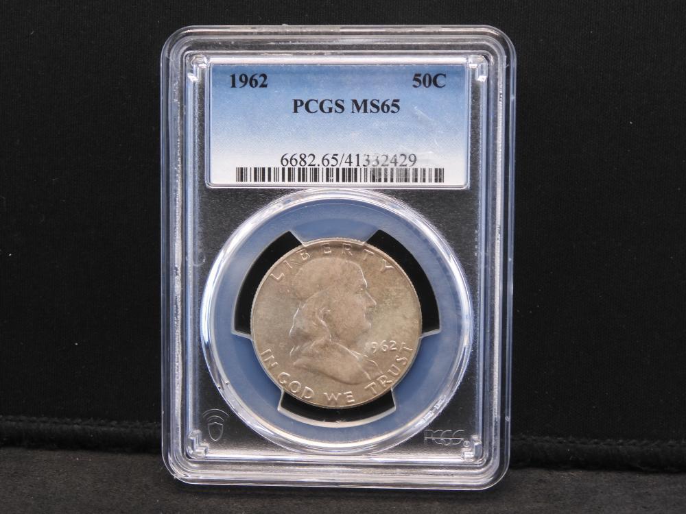 1962 PCGS MS65 Franklin Silver Half Dollar Wonderful Luster