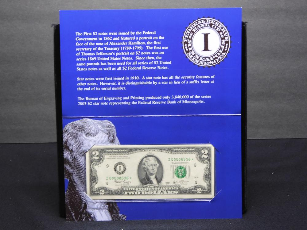 Series 2003 $2.00 Single Star Note - Federal Reserve Bank of Minneapolis w/ Folder