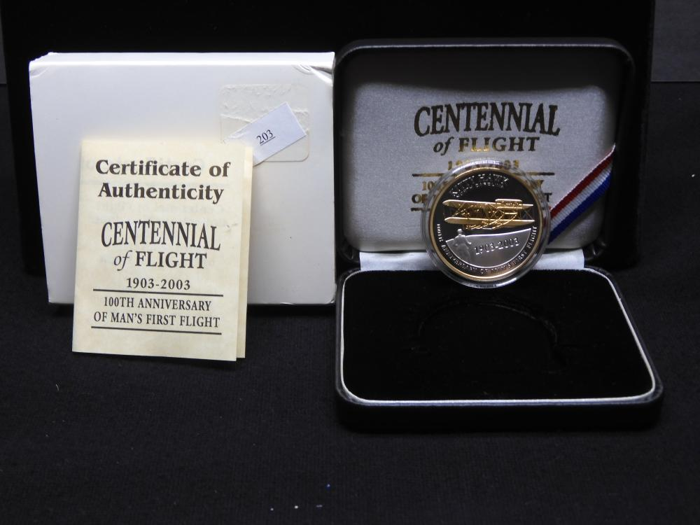 Centennial of Flight 1903-2003 100th Anniv. of Man's 1st Flight-1 Troy Oz .999 Silver Proof w/ Plated 25K Gold w/ Case & COA