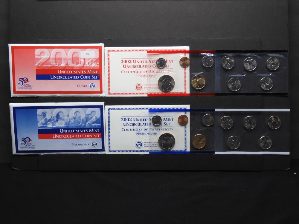 2002 U.S. P & D Uncirculated Mint Set w/Sacagawea Dollars & (10) State Quarters OGP