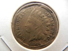 1864 Indian Head Cent.  Full Liberty but damaged.