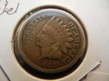 1864 Indian Head Cent.  Better Date Copper Nickel.  Good.
