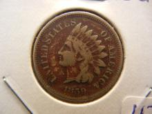 1859 Indian Head Cent.  Full Liberty.  Very Fine detail.