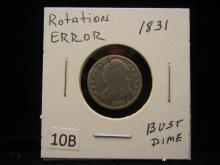 Two Capped Bust Dimes with Hole Drilled and Plugged,1831 Rotation Error and One Without Date