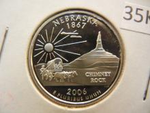 2006 S Nebraska State Quarter 90% Silver Proof