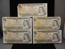 Five 1973 Canadian One Dollar Notes