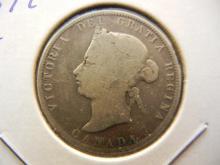 1872-H Canada Quarter.  Very Good.  Birmingham Mint.
