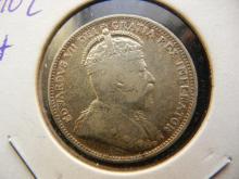 1902-H Canada Quarter.  Very Fine.  Birmingham Mint.