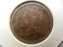 1865 Three cent Nickel.  Extremely Fine detail.  Late Civil War coin.