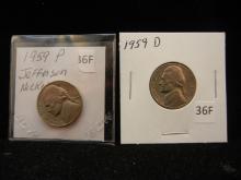1959 P&D Jefferson Nickels