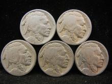 (5) Buffalo Nickels Mixed Dates