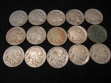 (15) Buffalo Nickels Mixed Dates