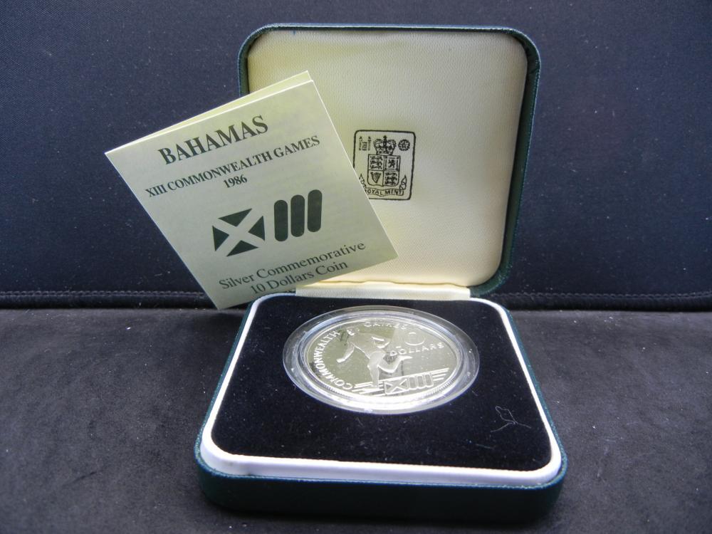 1986 Bahamas $10 Proof Commonwealth Games Coin.  Original Box.
