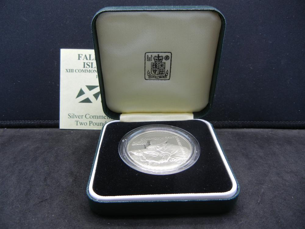 1986 Falkland Islands Silver Commemorative Two Pounds Coin.  Original Box.