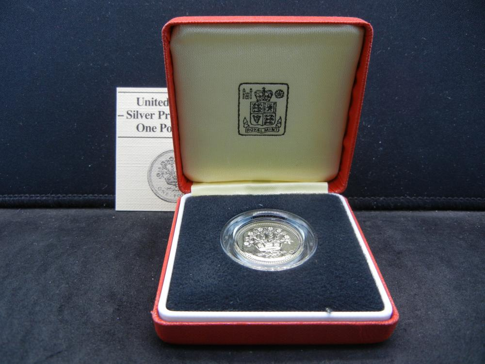 1986 Great Britain Silver Proof One Pound Coin.  Original Box.