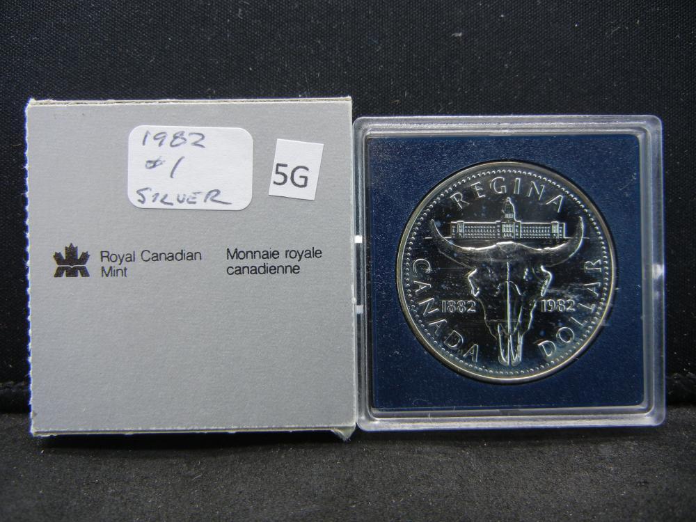 1982 Canada Commemorative $1.  .38 oz Silver in Coin.