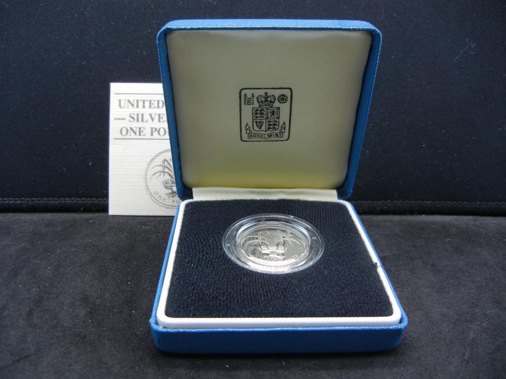 1985 Great Britain Silver Proof One Pound Coin.  Original Box.