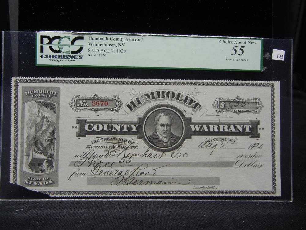 Humboldt County Warrant.  Winnemucca, NV.  $3.55 Aug. 2, 1920.  PCGS AU-55.