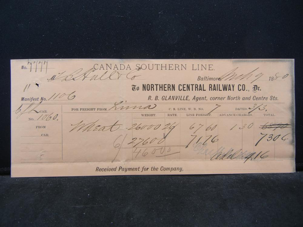 1880 Canada Southern Line.  Railroad Freight Receipt.