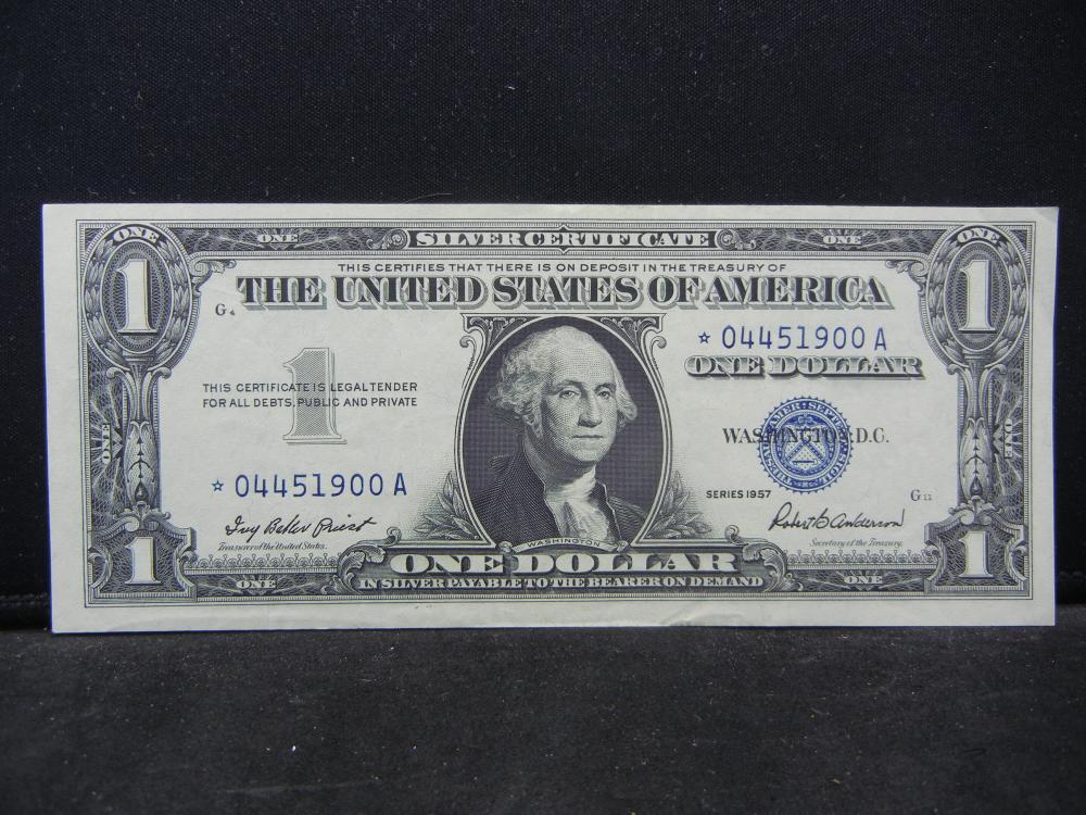 1957.  $1 Silver Certificate Star Note.  Crisp UNC.