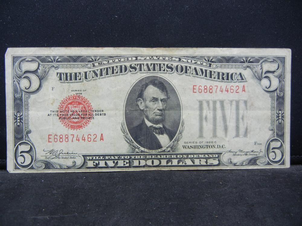 1928C.  $5 Red Seal Bank Note.