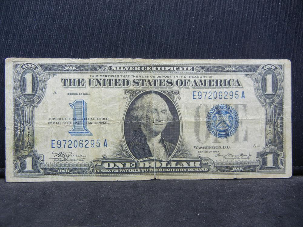 """1934.  $1 Silver Cert. """"Funny Back"""" Note."""