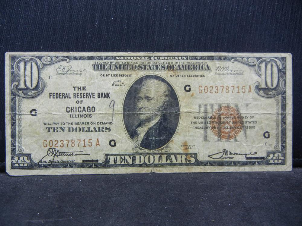 1929 Chicago $10 Federal Reserve Note.