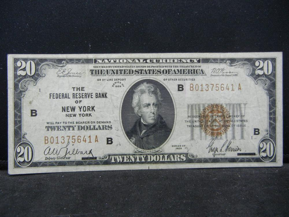 1929 $20 New York Federal Reserve Note.