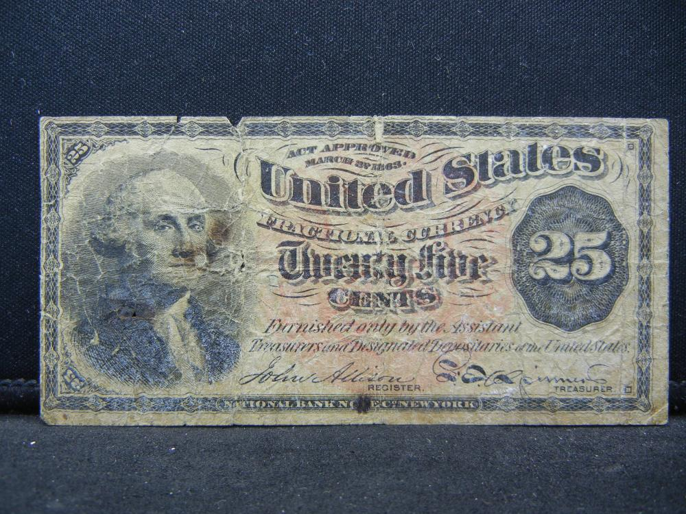 1863 Quarter Fractional Currency.