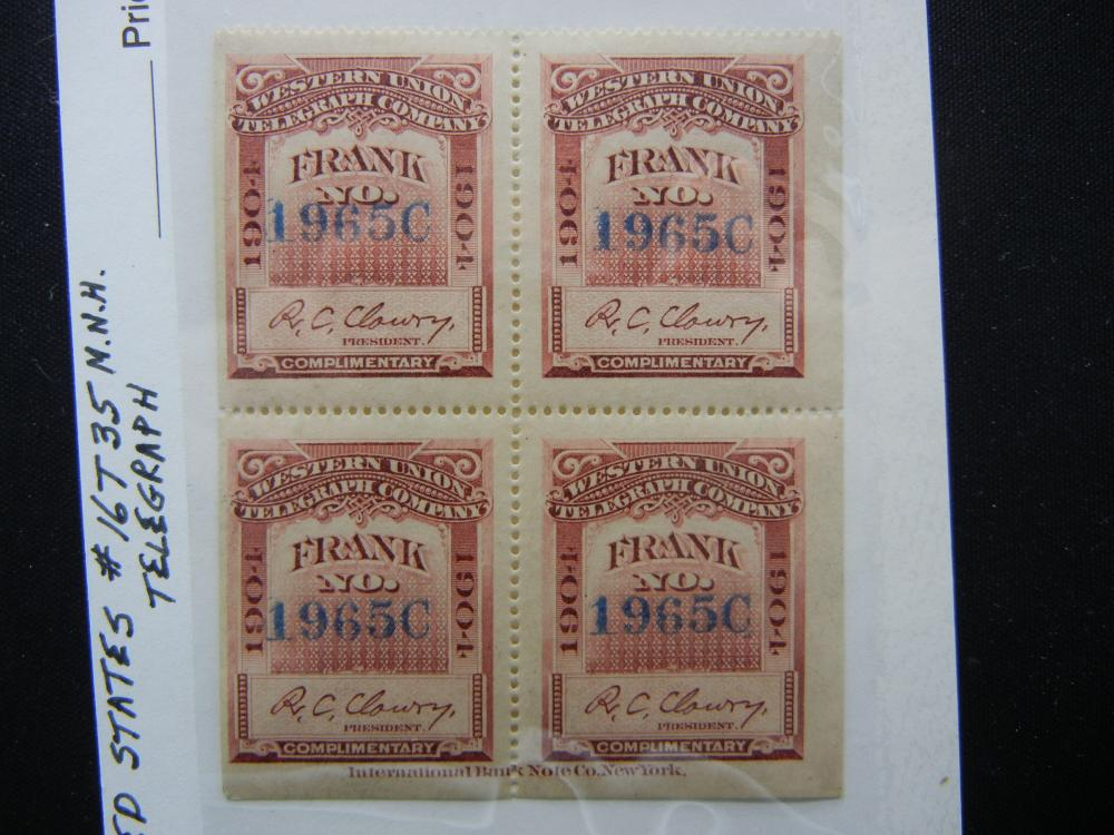 1897 Western Union Telegraph Company Stamps.  New.