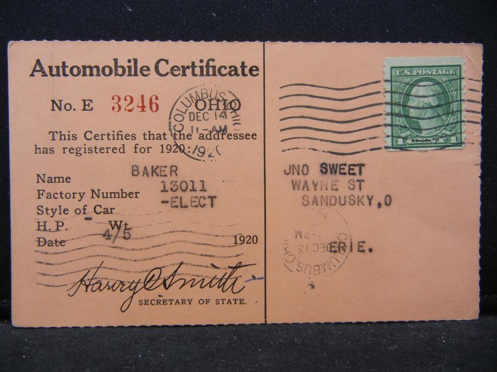 1920 Ohio Automobile Registration for Baker Electric Car.