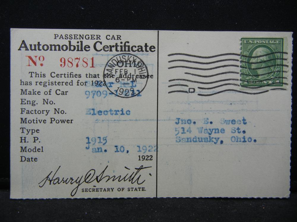1922 Ohio Automobile Registration for Baker Electric Car.