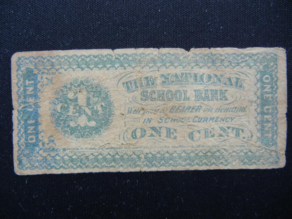 National School Bank 1 Cent Coupon.