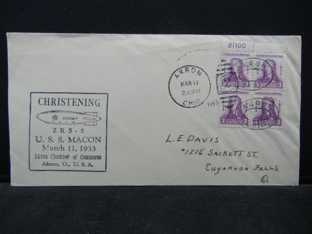 1933 USS Macon F.D.C. w/4 Stamp Plate Block.