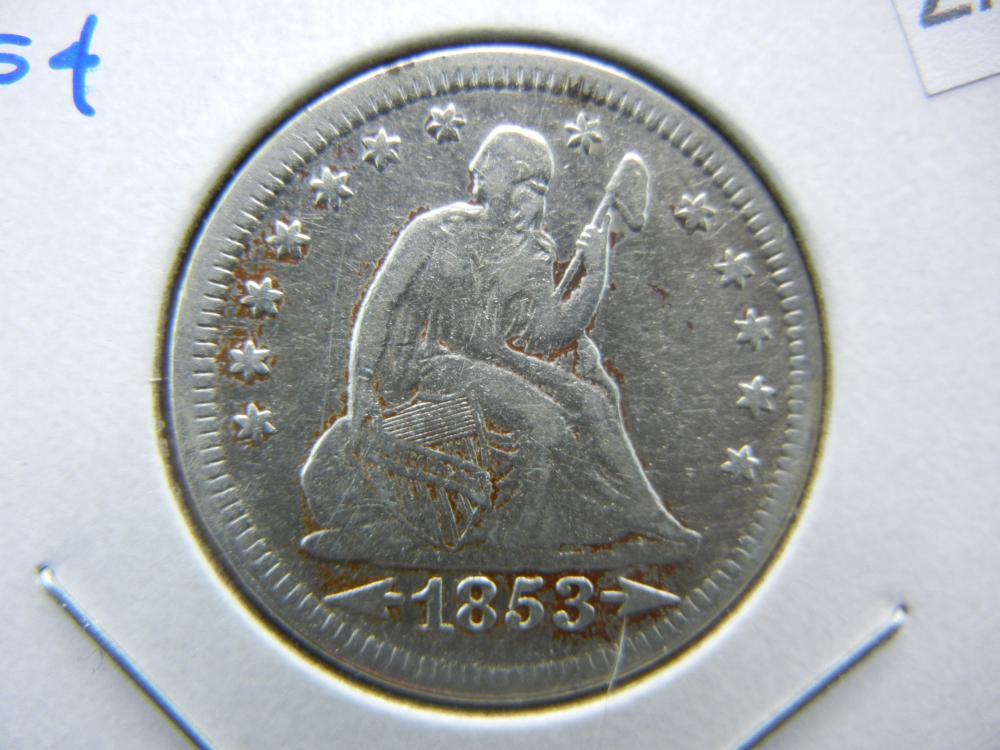 1853 Seated Quarter.  VF+ Details.