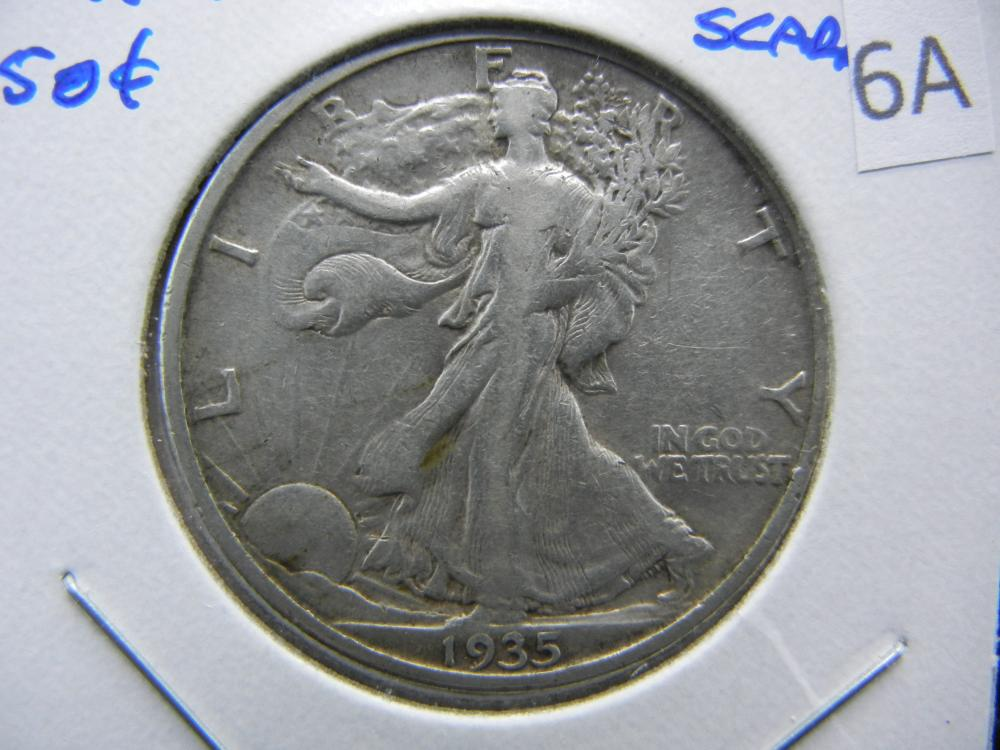 1935-S Walking Half Dollar.  VF.  Scarce.