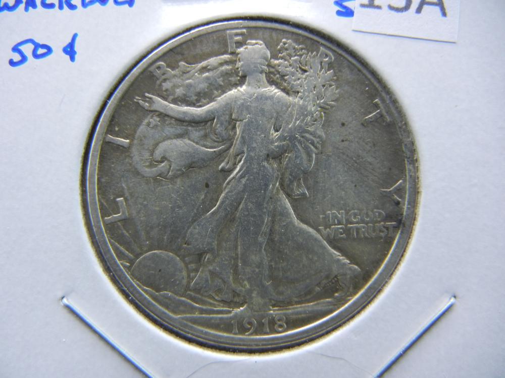 1918-S Walking Half Dollar.  Fine.  Scarce.