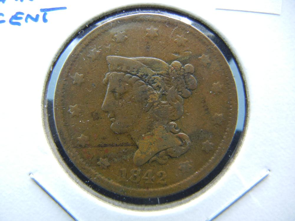 1842 Large Cent.  VG.