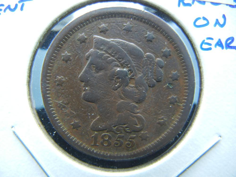 1855 Large Cent.  VG Details.  Knob on Ear.  Popular Variety.