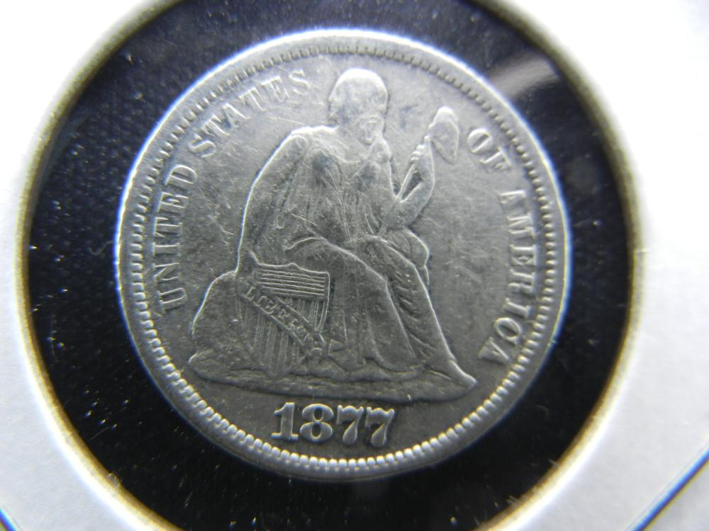1877-CC Seated Dime.  XF Details.