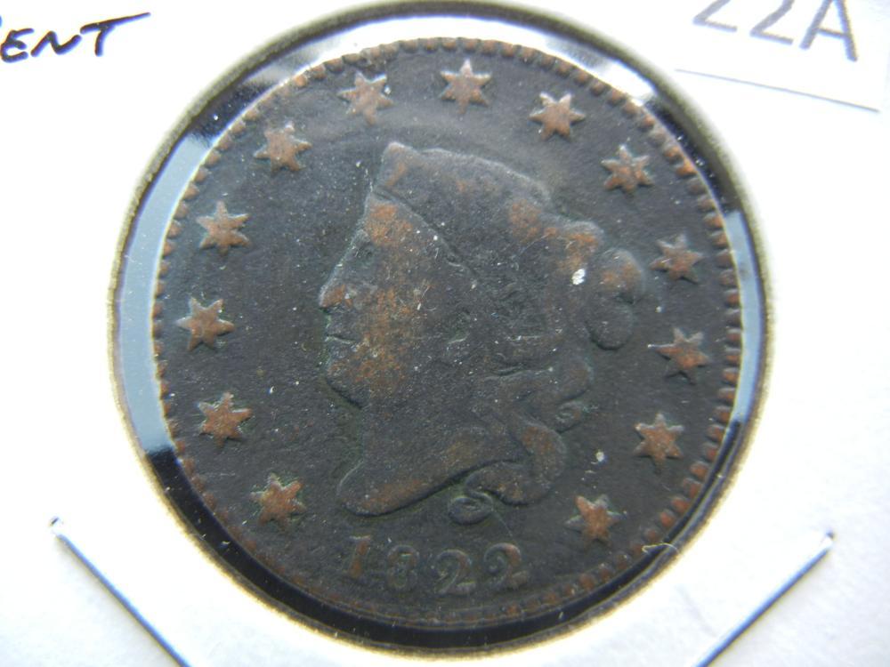 1822 Large Cent.  Fine Details.