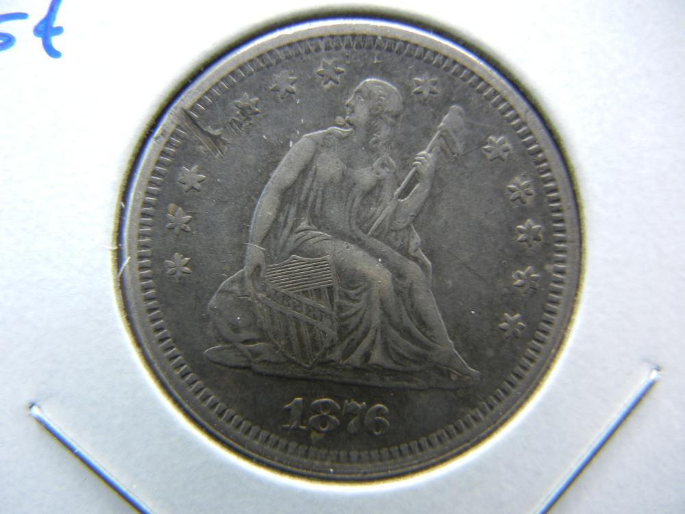 1876-S Seated Quarter.  AU Details.