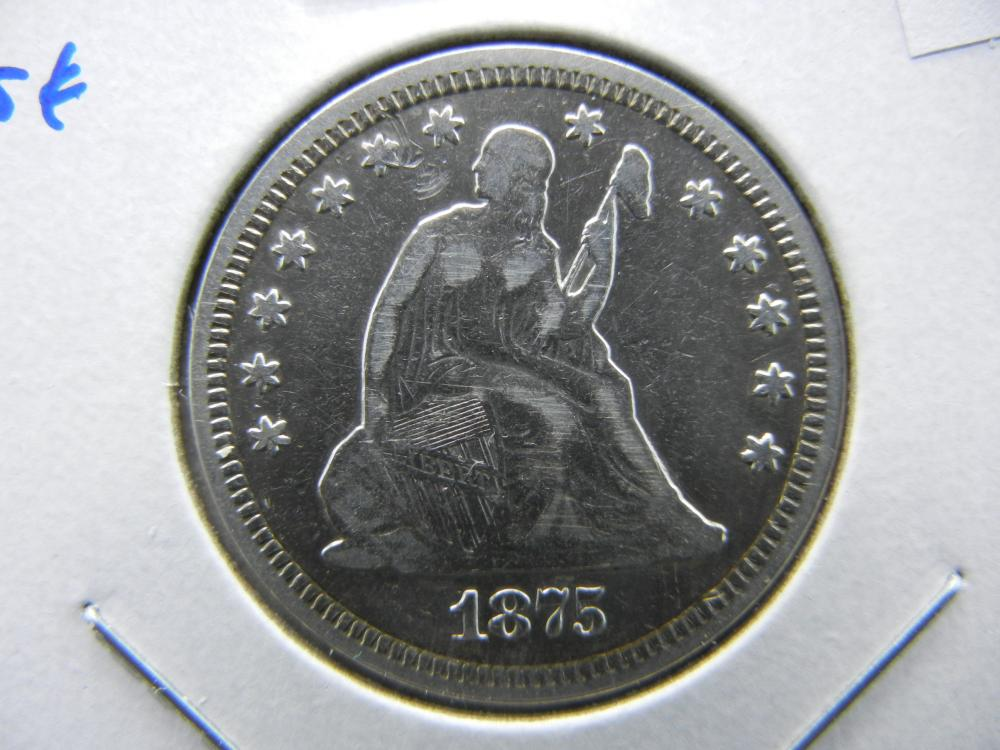 1875 Seated Quarter.  XF+.