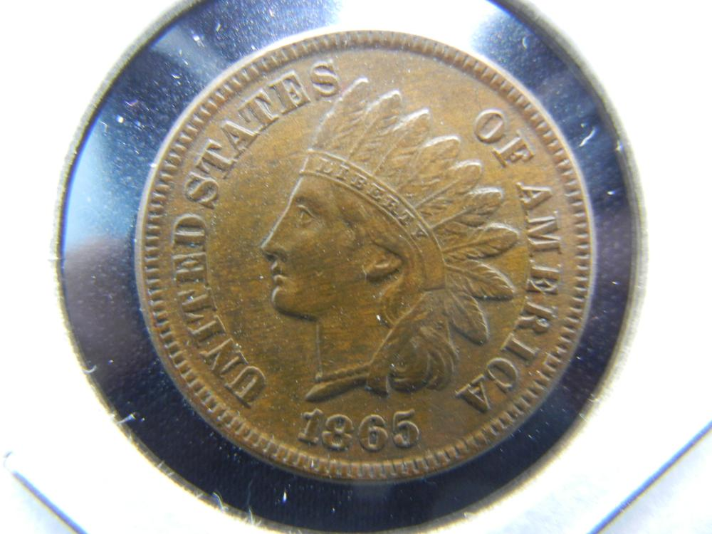 1865 Indian Head Cent .  Brown UNC.  Nice!  Scarce.