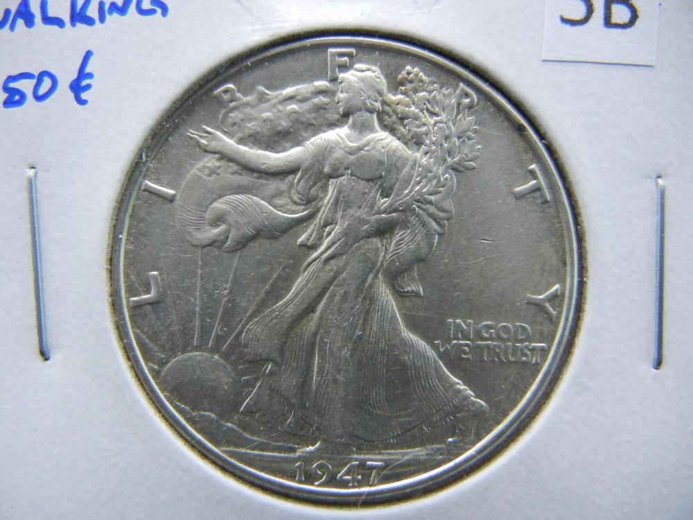 1947 Walking Half Dollar.  AU+.
