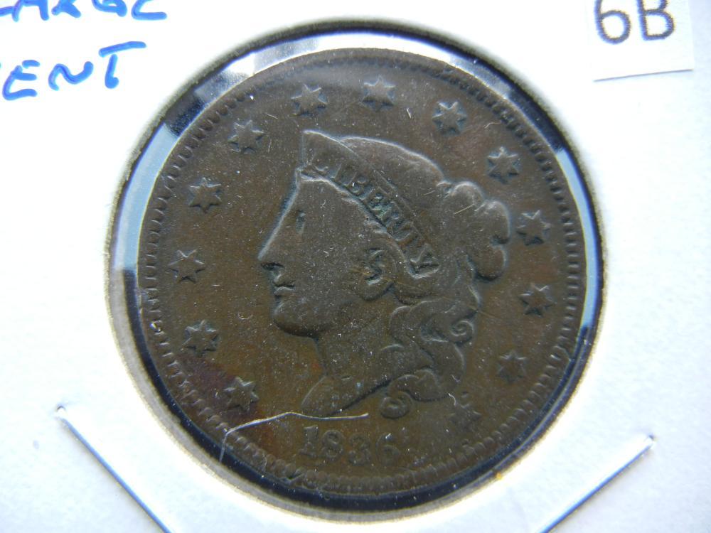 1836 Large Cent.  Fine.