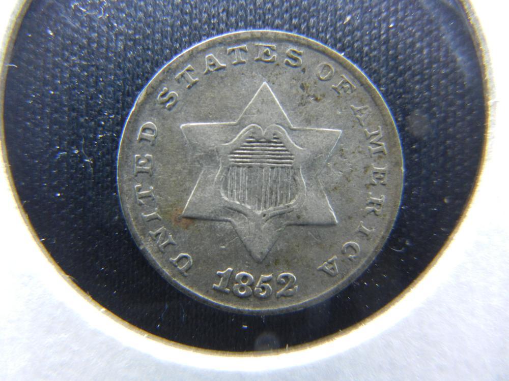 1852 Three Cent  Silver.  VF+.