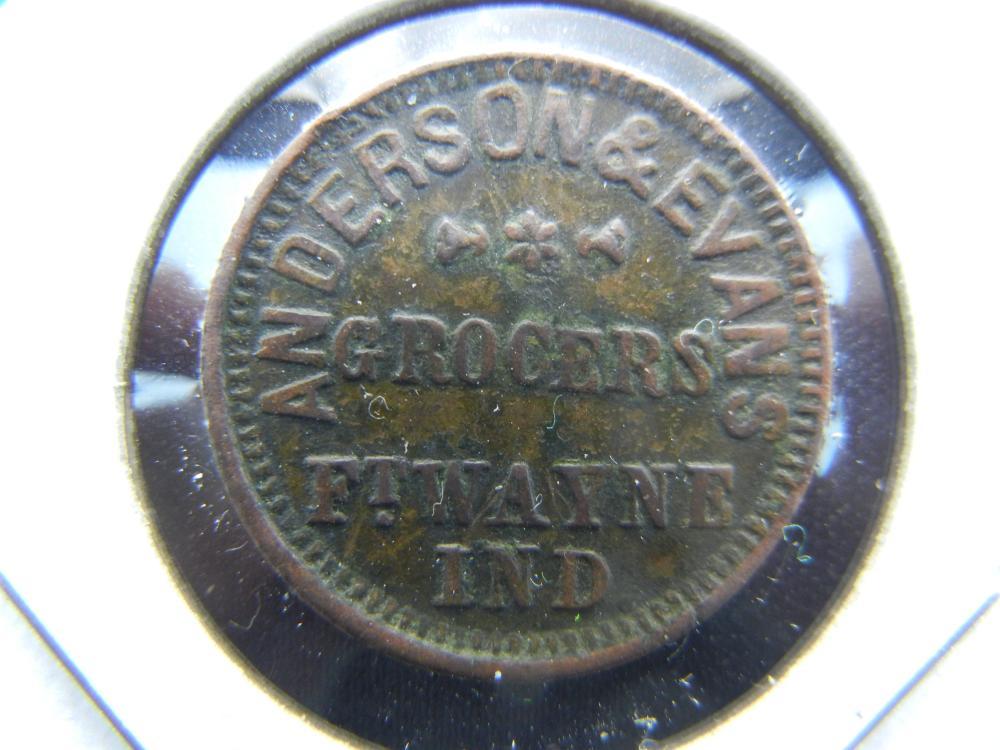 1863 Civil War Token.  Anderson & Evans Grocer.  Ft. Wayne, Indiana.  Rare.