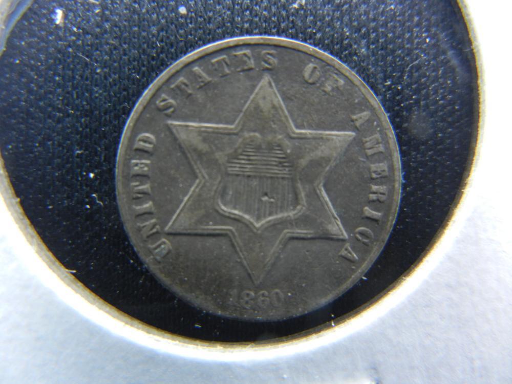 1860 Three Cent  Silver.  Fine.